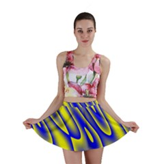 Blue Yellow Wave Abstract Background Mini Skirt