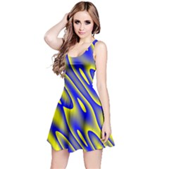 Blue Yellow Wave Abstract Background Reversible Sleeveless Dress