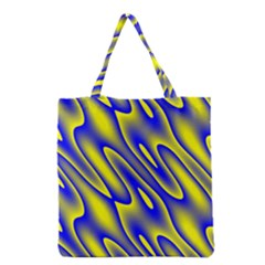 Blue Yellow Wave Abstract Background Grocery Tote Bag