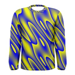 Blue Yellow Wave Abstract Background Men s Long Sleeve Tee