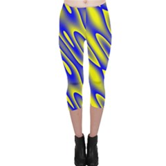 Blue Yellow Wave Abstract Background Capri Leggings