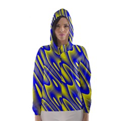 Blue Yellow Wave Abstract Background Hooded Wind Breaker (Women)