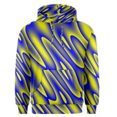 Blue Yellow Wave Abstract Background Men s Pullover Hoodie