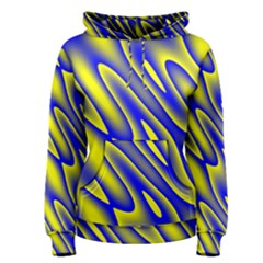 Blue Yellow Wave Abstract Background Women s Pullover Hoodie