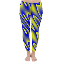 Blue Yellow Wave Abstract Background Classic Winter Leggings