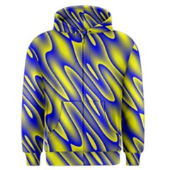 Blue Yellow Wave Abstract Background Men s Zipper Hoodie