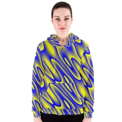 Blue Yellow Wave Abstract Background Women s Zipper Hoodie
