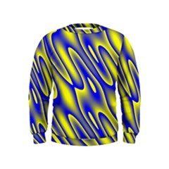 Blue Yellow Wave Abstract Background Kids  Sweatshirt