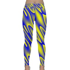 Blue Yellow Wave Abstract Background Classic Yoga Leggings