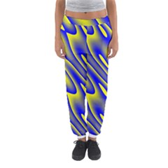 Blue Yellow Wave Abstract Background Women s Jogger Sweatpants