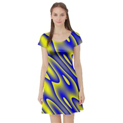 Blue Yellow Wave Abstract Background Short Sleeve Skater Dress