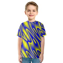 Blue Yellow Wave Abstract Background Kids  Sport Mesh Tee