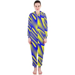 Blue Yellow Wave Abstract Background Hooded Jumpsuit (Ladies)