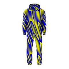 Blue Yellow Wave Abstract Background Hooded Jumpsuit (Kids)