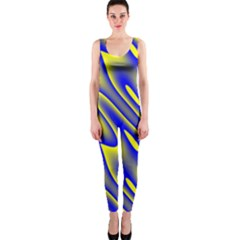 Blue Yellow Wave Abstract Background OnePiece Catsuit