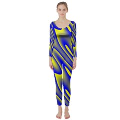 Blue Yellow Wave Abstract Background Long Sleeve Catsuit