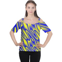 Blue Yellow Wave Abstract Background Women s Cutout Shoulder Tee