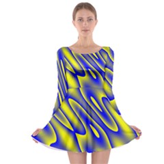 Blue Yellow Wave Abstract Background Long Sleeve Skater Dress