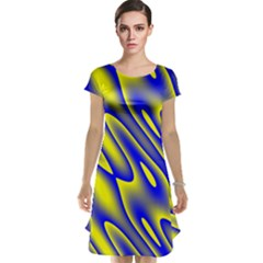 Blue Yellow Wave Abstract Background Cap Sleeve Nightdress