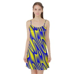 Blue Yellow Wave Abstract Background Satin Night Slip