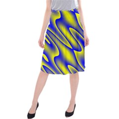 Blue Yellow Wave Abstract Background Midi Beach Skirt