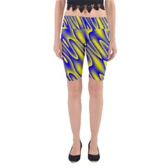 Blue Yellow Wave Abstract Background Yoga Cropped Leggings