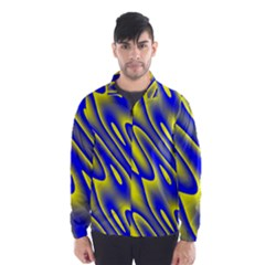 Blue Yellow Wave Abstract Background Wind Breaker (Men)