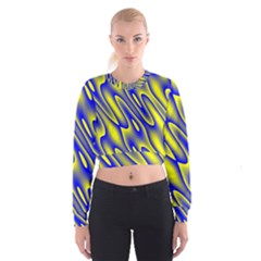 Blue Yellow Wave Abstract Background Women s Cropped Sweatshirt