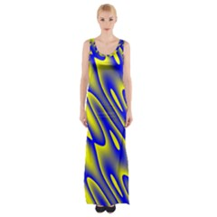 Blue Yellow Wave Abstract Background Maxi Thigh Split Dress