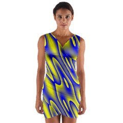 Blue Yellow Wave Abstract Background Wrap Front Bodycon Dress