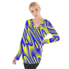 Blue Yellow Wave Abstract Background Women s Tie Up Tee