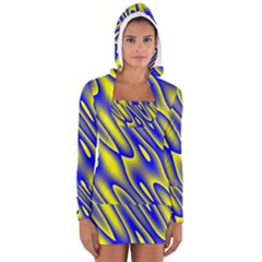 Blue Yellow Wave Abstract Background Women s Long Sleeve Hooded T-shirt