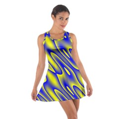 Blue Yellow Wave Abstract Background Cotton Racerback Dress