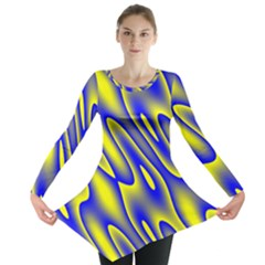 Blue Yellow Wave Abstract Background Long Sleeve Tunic