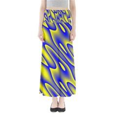 Blue Yellow Wave Abstract Background Maxi Skirts