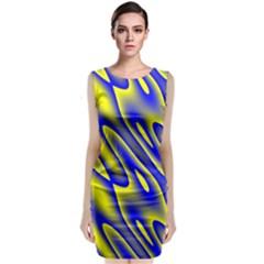 Blue Yellow Wave Abstract Background Classic Sleeveless Midi Dress