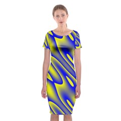 Blue Yellow Wave Abstract Background Classic Short Sleeve Midi Dress