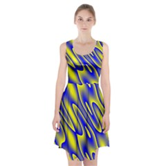Blue Yellow Wave Abstract Background Racerback Midi Dress