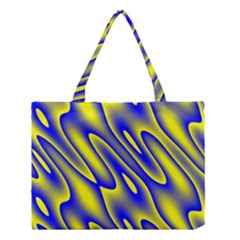 Blue Yellow Wave Abstract Background Medium Tote Bag