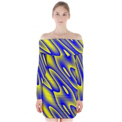 Blue Yellow Wave Abstract Background Long Sleeve Off Shoulder Dress