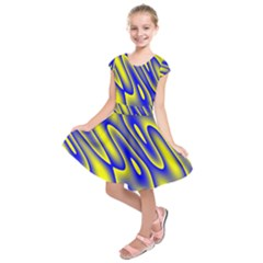 Blue Yellow Wave Abstract Background Kids  Short Sleeve Dress