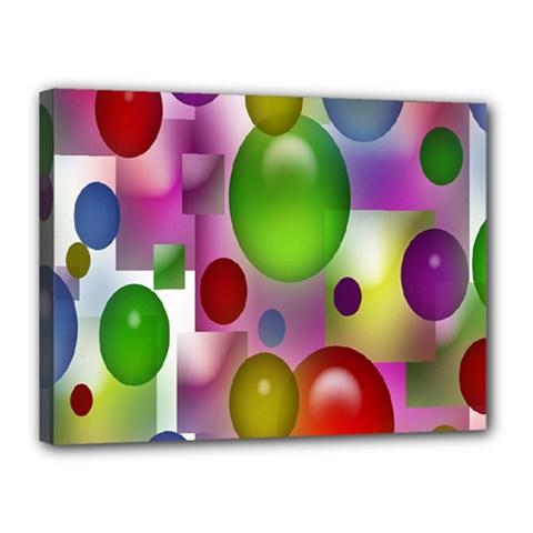 Colored Bubbles Squares Background Canvas 16  x 12