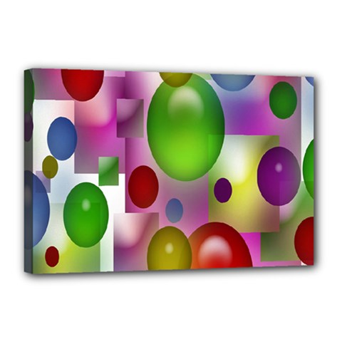 Colored Bubbles Squares Background Canvas 18  X 12