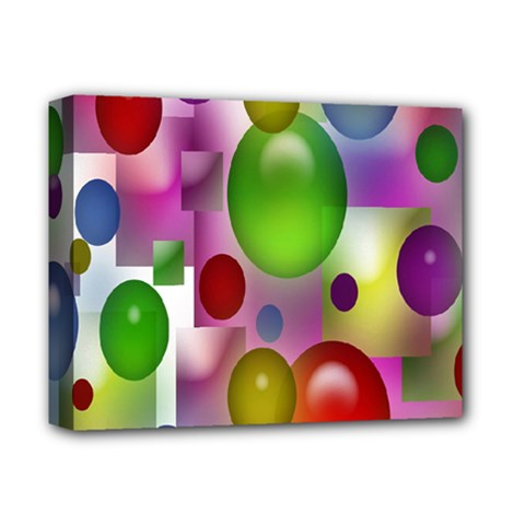 Colored Bubbles Squares Background Deluxe Canvas 14  x 11