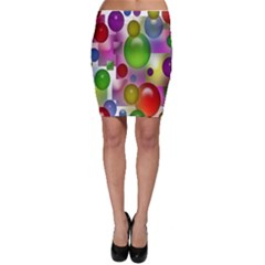 Colored Bubbles Squares Background Bodycon Skirt
