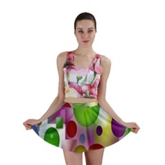Colored Bubbles Squares Background Mini Skirt