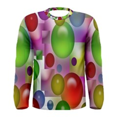 Colored Bubbles Squares Background Men s Long Sleeve Tee