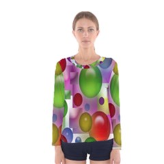 Colored Bubbles Squares Background Women s Long Sleeve Tee