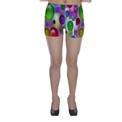 Colored Bubbles Squares Background Skinny Shorts