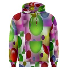 Colored Bubbles Squares Background Men s Pullover Hoodie